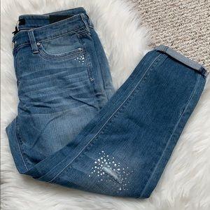 WHBM Jeweled crop pants girlfriend jeans Capri's